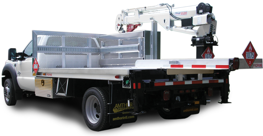our mobile crane trucks are used for small propane tanks the specially designed flat bed body has a mobile crane that picks up and moves the