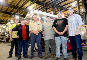 Pictured, from left, are new Amthor hires Noah Richardson of Java, Sheila Hughes of Halifax, Stormy Hendrickson of Gretna, welding instructor and Amthor Operations Manager Ronnie Farmer, new hires Steven Gauldin of Ringgold and Brandon Betterton of Gretna, and Amthor Executive Vice President Brian Amthor. Not pictured is recent hire Anthony Long.