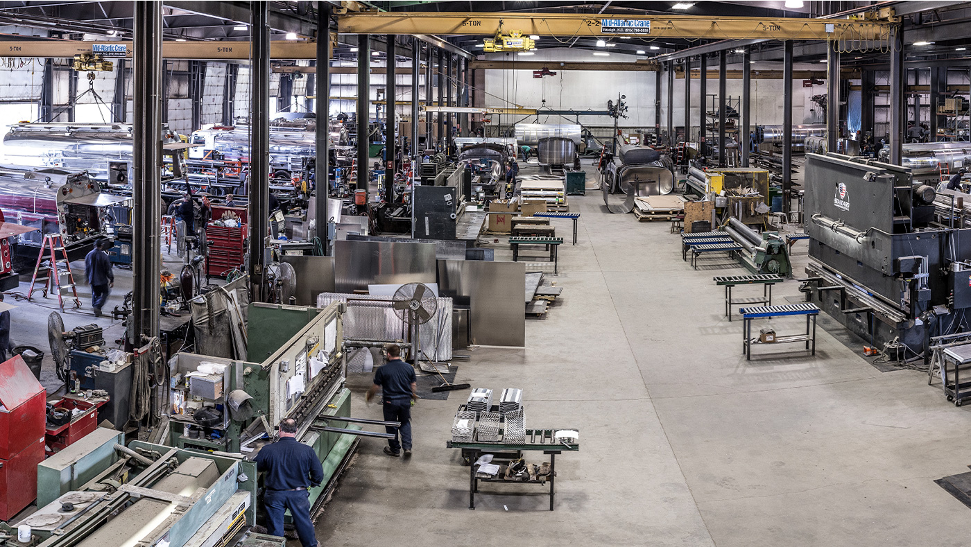Photo of the Amthor International factory floor.